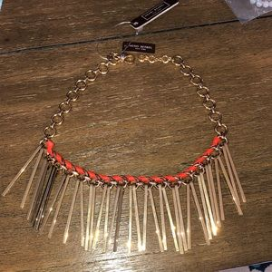 Henri Bendel metal fringe statement necklace